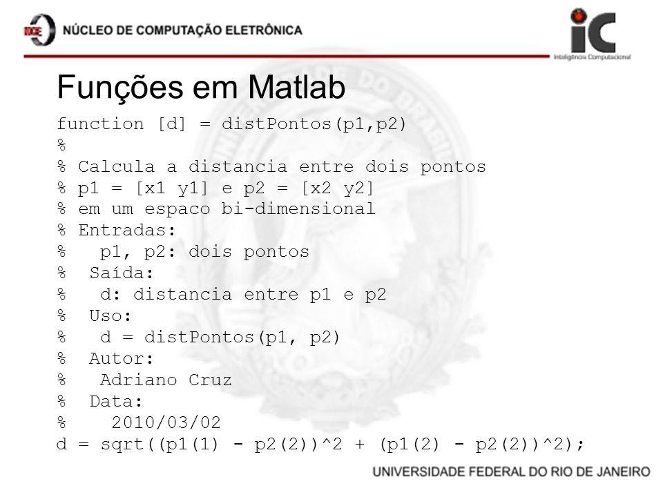 Funções em Matlab function [d] = distPontos(p1,p2) %